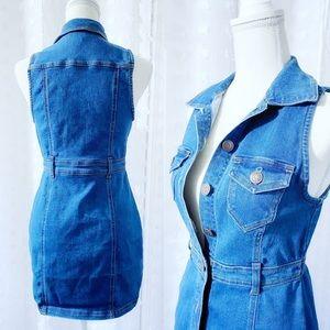 Button Down Double Pocket Shirt Denim Dress Size S